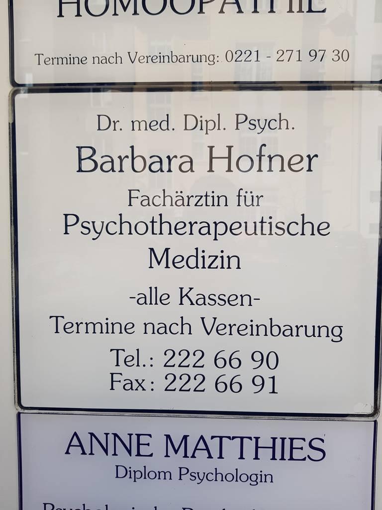 Profilfoto von Dr. med. Dipl.-Psych. Barbara Hofner